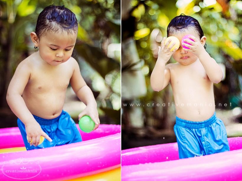 Baby Bathing in Rubber Pool